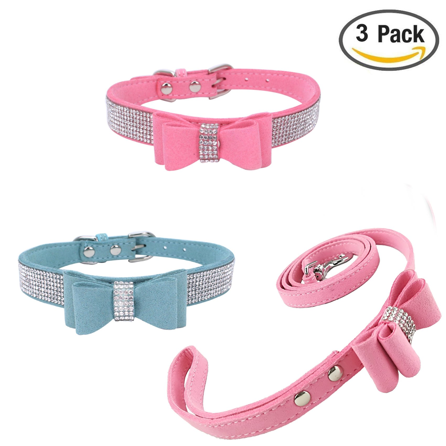 Newtensina 3pcs Stylish Dog Collar with Lead Set 2pcs Bow Tie Puppy Collar with Cute Pink Bow Tie Leash for Small Dog Cats