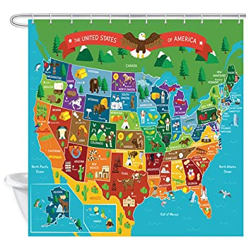 JAWO Kids Cartoon United States Map Shower Curtain for Bathroom, Children's United States Map Shower Curtain on united states map high resolution, united states map tumbler, united states map pillow, united states map large wall, united states map quilt, united states map fabric, united states map rug, united states map clock, united states military armed forces, united states map art, united states map placemat, united states map food, united states map comforter, united states map with rivers, united states map wallpaper, united states map with landmarks, united states map wall mural, united states map zoom in, united states map rhode island, united states map decor,