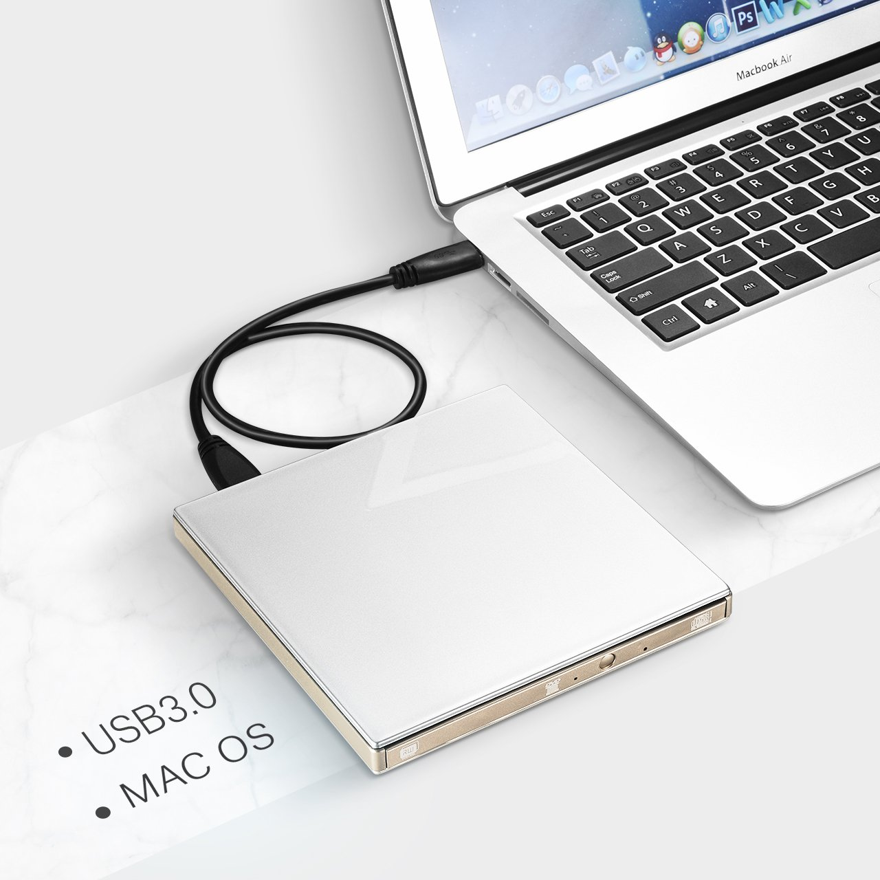 VicTsing External USB 3.0 CD DVD Drive, Ultra Slim Optical DVD Drive CD-RW Burner Write Drive for Apple MacBook Pro Air iMac and Other Non-apple Laptops Desktops Silvery by VicTsing (Image #6)