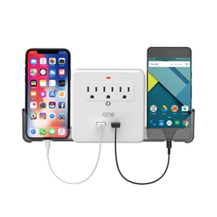 One Power 3 Outlet Surge Protector and Outlet Extender with 2 USB Ports and Slide-Out Device Cradles