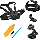 SHOOT 4in1 Travel Accessories Bundle Kit for Gopro Hero 4/3+/3/2/1 SJ4000 SJ5000 SJ6000 Action Cameras Head Belt Strap+ Chest Belt Strap + Car Suction Cup Mount Holder + Floating bar
