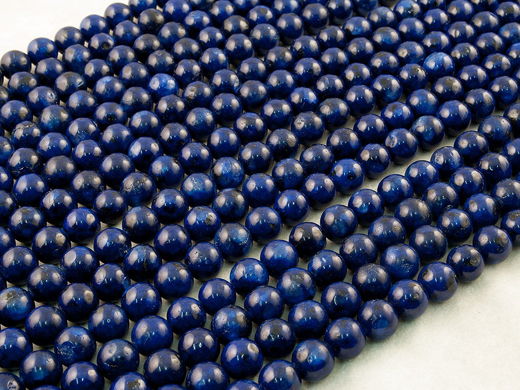 Beads Ok, DIY, Kiwi Jaspe in Lapis Colour, Teintée, 12mm, Perle en Pierre Semi-précieuse, Ronde, Environ 38cm Un Fil. (Kiwi Jasper in Lapis Colour, Color Enhanced, Plain Round Bead)