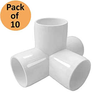 SELLERS360 4Way 3/4 in Tee PVC Fitting Elbow - Build Heavy Duty PVC Furniture - PVC Elbow Fittings (Pack of 10)