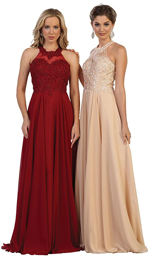 May Queen MQ1557 Halter Bridesmaids Evening Long Dress at Amazon Womens Clothing store: