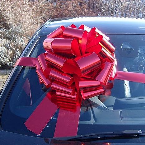 Lazo gigante para coches de 41 cm + 6 metros de cinta, para coches, bicicletas y regalos grandes de cumpleaños y Navidad, de color rojo metálico