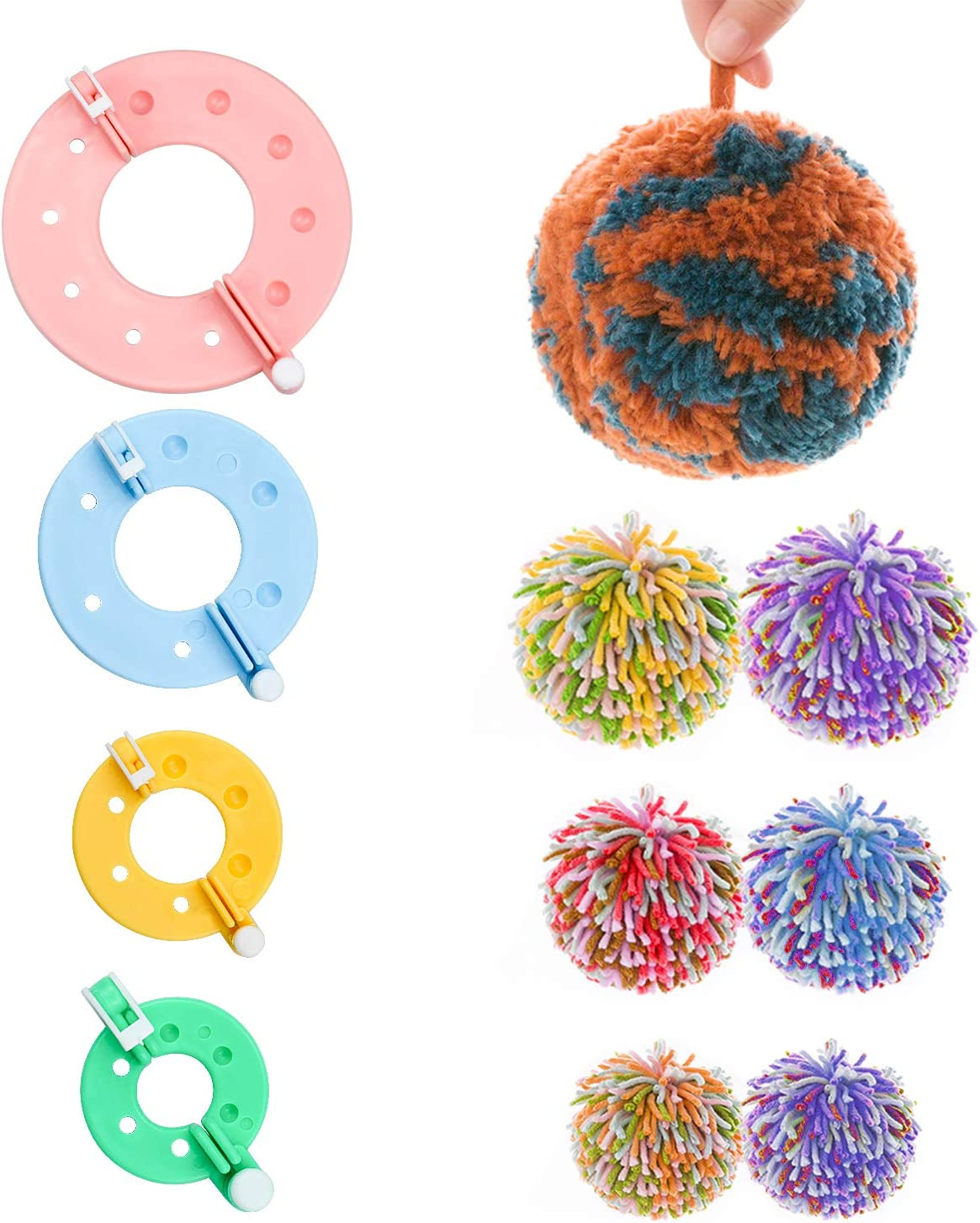 1.3//2//2.8//3.5 inches Gifts Kids and Adult of Fluff Ball Weaver for DIY Needle Crafts 9 Piece Pom Pom Makers Set 4 Size Charms Decoration