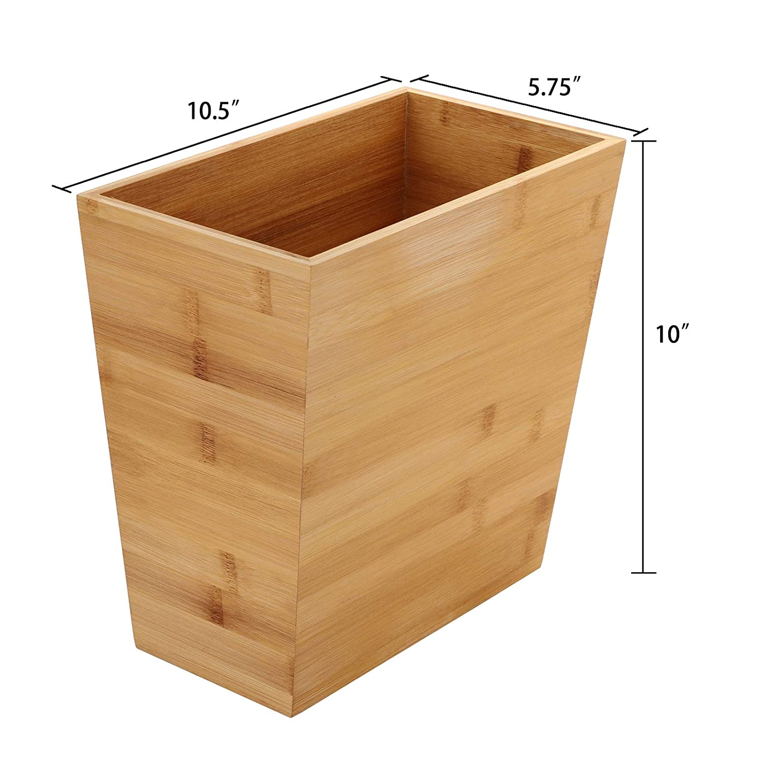 Bedroom 10.5 x 5.75 x 10 Rectangular Narrow Trash Can Wastebasket Waste Bin Garbage Can for Bathroom TOPZEA Bamboo Waste Basket Office and Home