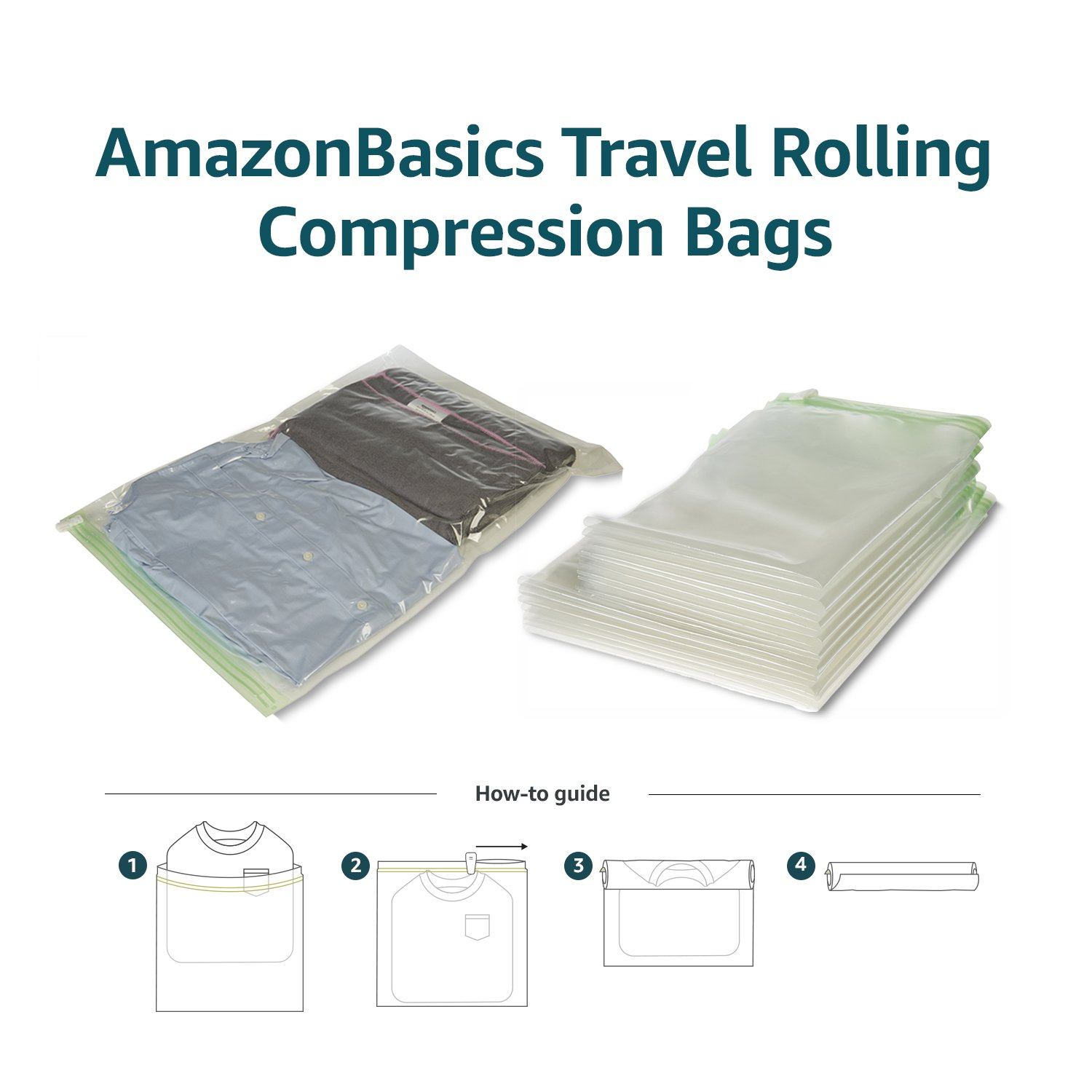 AmazonBasics Travel Rolling Compression Bags, No Vacuum, 10 piece