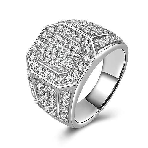 (personalizada anillo) Adisaer plata anillos para hombre boda bandas grabado polígono Circonita