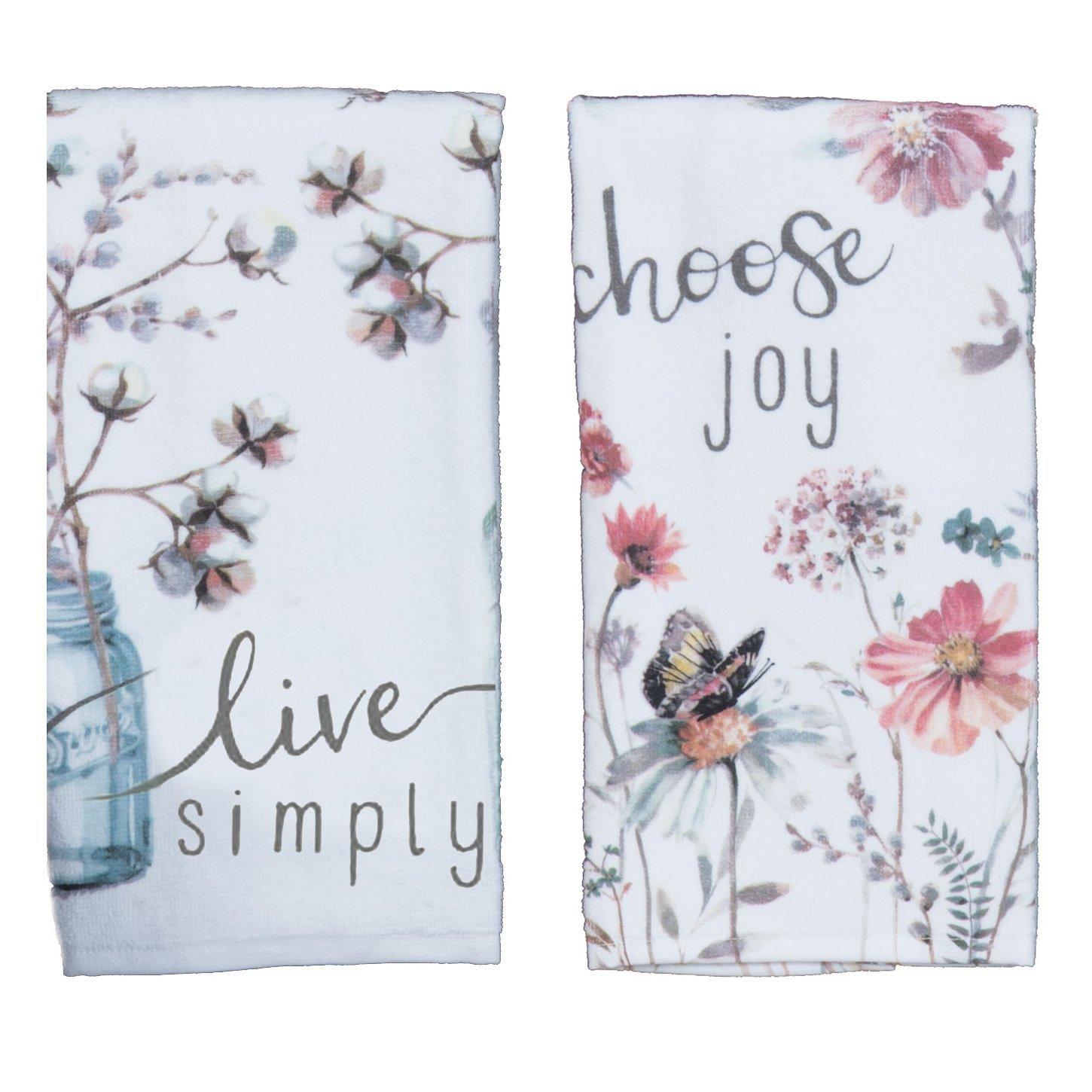 Kay Dee Designs Kitchen Towel Set (2 pc) - Choose Joy and Live Simply - Terry Hand Towels,White