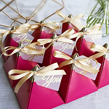 100pcs Rose Red Triangular Pyramid Sweet Candy Box Wedding Favors Paper Gift Boxes Chocolate Bags Gift Packing Box Wedding Decoration With Card And Ribbon L Home Improvement