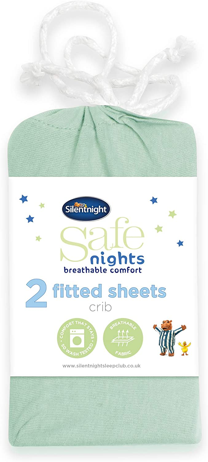 Duck Egg Pack of 2 Silentnight Safe Nights Alphabet Fitted Sheet Crib