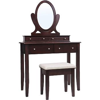 Amazon Com Songmics Vanity Table Set 3 Large Drawers
