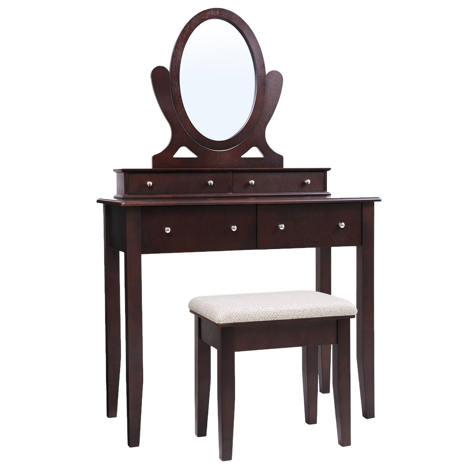 SONGMICS Vanity Table Set with Mirror, 4 Drawers and Large Stool, Makeup Dressing Table with Wood Grain Surface, Gift for Women Girls Dark Expresso URDT22BR