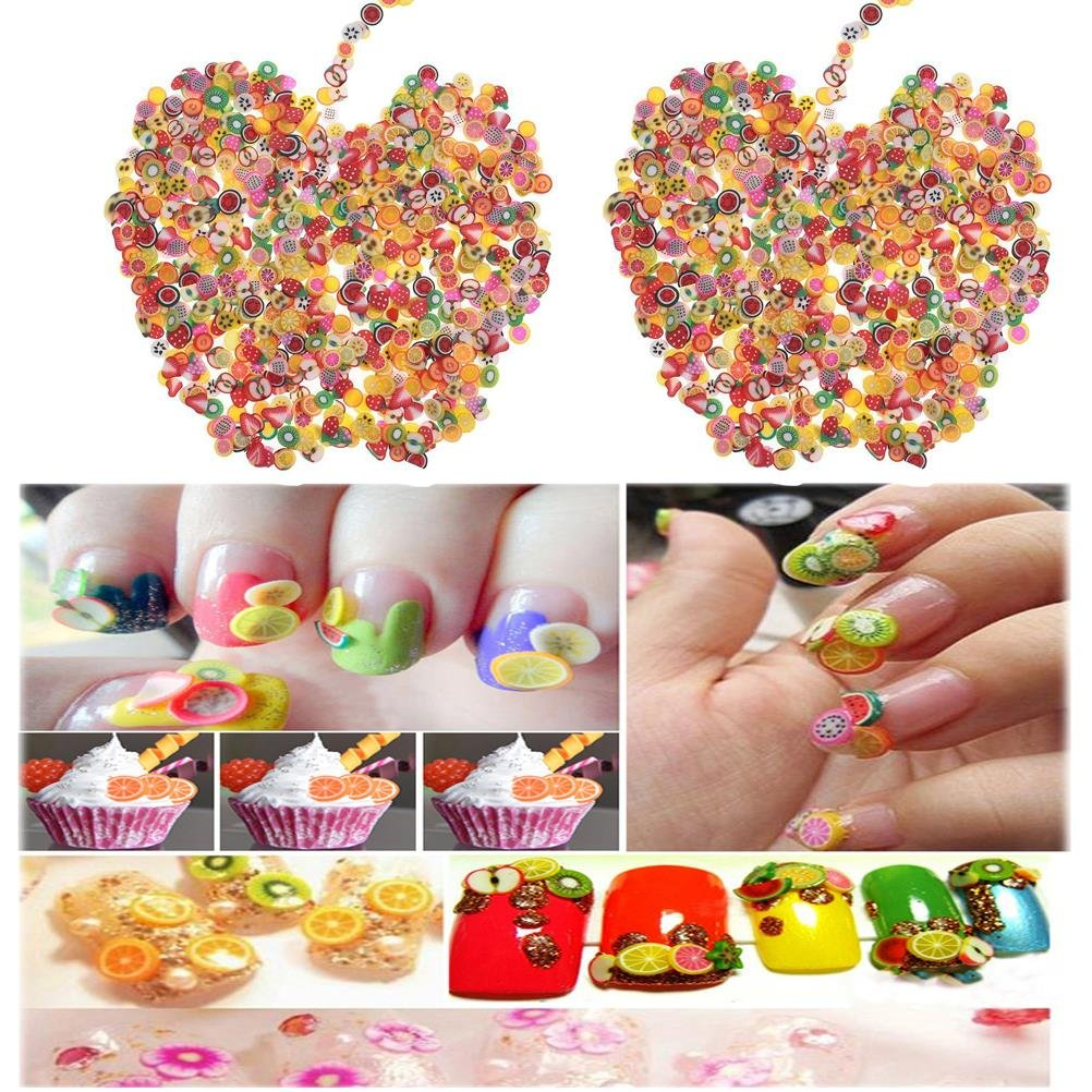 CosCosX 4000 Pcs Nail Art Sticker 3D Nail Tips Polymer Fimo Slices Clay Decoration Manicure Nail Decor DIY Slime,Decal Pieces Accessories,Fruit,Flower,Star,Heart,Leaves,Butterfly by CoscosX