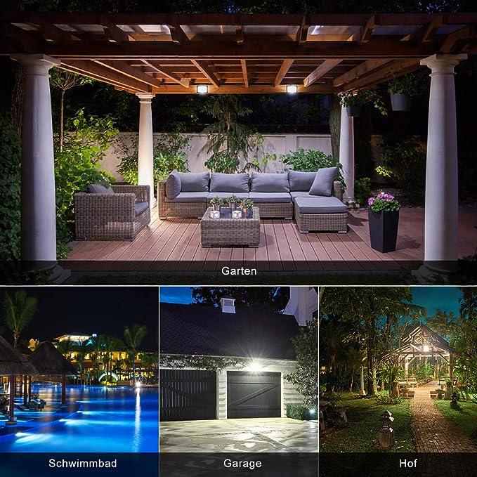 MEIHUA Foco LED con enchufe, foco LED de 35 W para exteriores, muy claro, 3500 lm, 6500 K, luz blanca fría, IP66, resistente al agua, foco exterior para patios, garaje, pasillo, jardín: