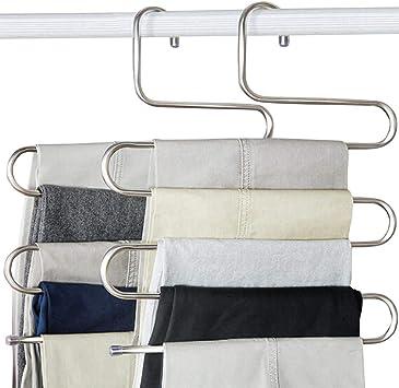 HAIMST Pants Hanger S Shaped Trouser Hanger Stainless Steel Pants Hanger Space Saving Non Slip Hanger for Pants Jeans Scarf 5 Pack-Teal