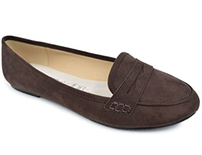 1beb1d0aa8 Greatonu Women's Pointed Toe Brown Faux Suede Ballet Flat Loafer Shoes(6 ...