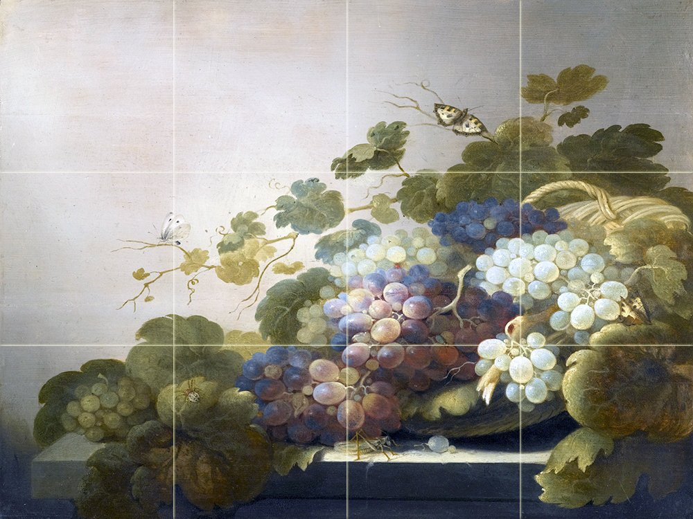 Still life with grapes r koets tile mural kitchen for Ceramic tile mural backsplash