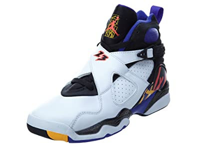 nouveau produit d79bd 4c12b Nike Boys Air Jordan 8 Retro BG 3 Peat White/Infrared 23-Black Leather Size  3.5Y