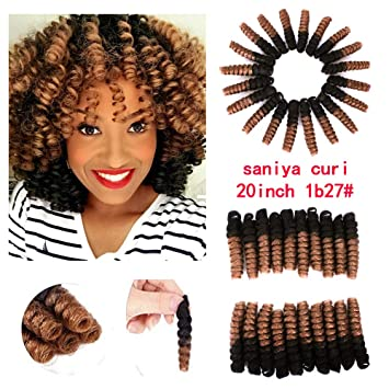 Amazon Com Furice Strong Elastic Twist African Crochet Micro Braids Hair Short Ombre Afro Curly Hair Extensions20inch 1b 27 Beauty