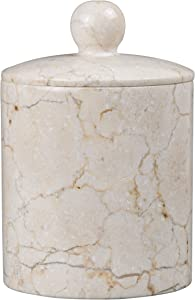 Creative Home Natural Champagne Marble SPA Collection Cotton Ball Swab Holder Bathroom Countertop Storage Jar Container Organizer