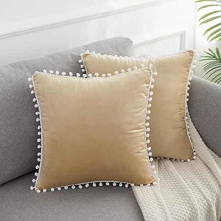 Velvet Solid with Pom Poms Throw Pillow