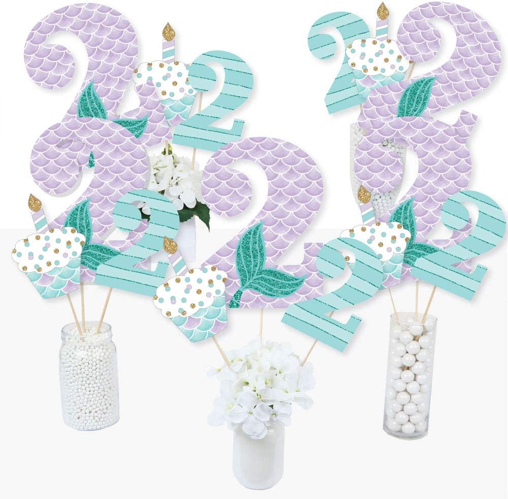 24 pc Mermaid Second Birthday Small Die Cut Decorations 2nd Birthday Let/'s Be Mermaids DIY Shaped Paper Cut Outs