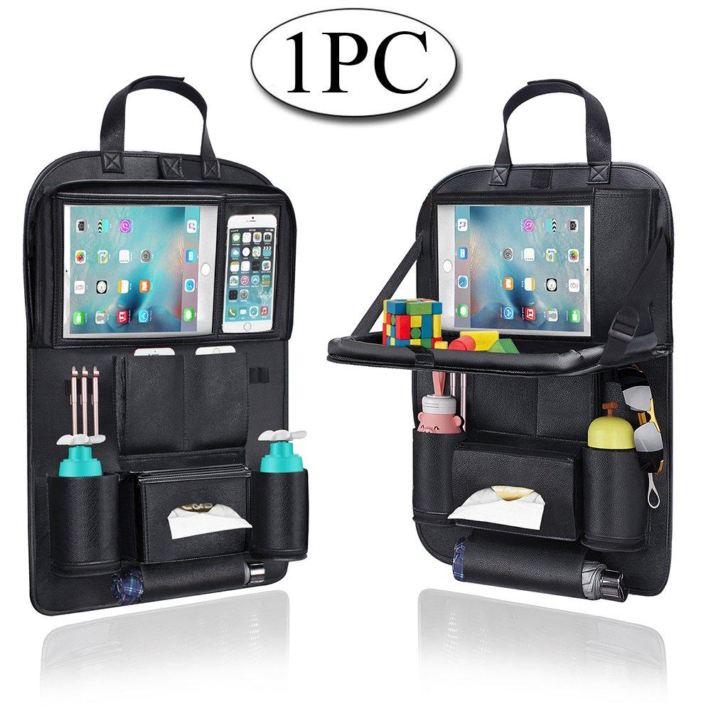 Auto Organizer, AresKo Auto Esstisch Rückenlehnenschutz mit Bildschirm Berührbar Tablet Halter Multi-Tasche für Auto ordentlich, 1 Stück 1 Stück