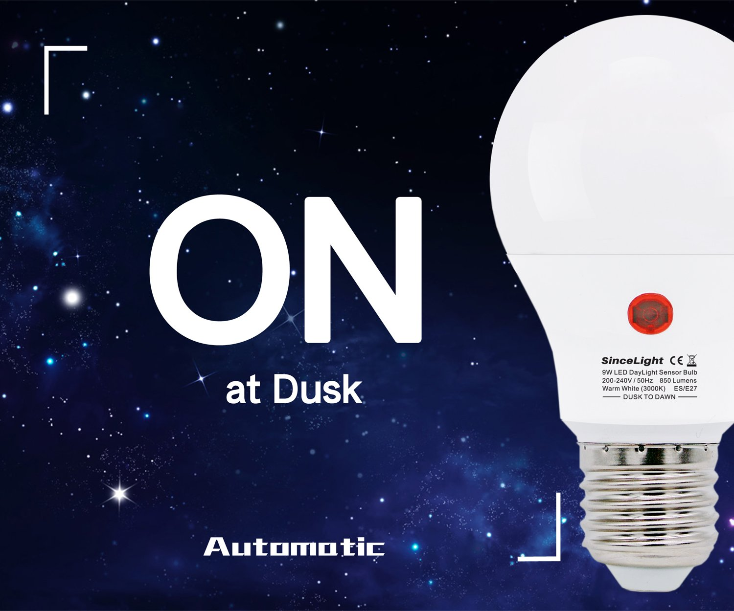 Dusk To Dawn Led Bulb With Dual Daylight Sensors On Off Automatic Low Power Emergency Light Depends Level Night From Till 9 Watt 2 Pack 3000k
