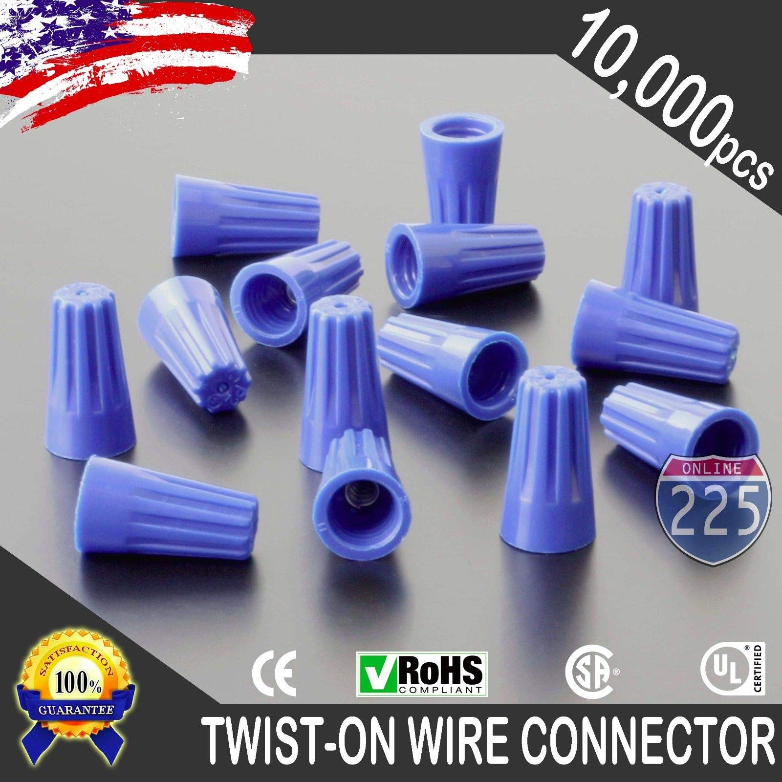 10000 PCS Blue 22-14 Gauge Twist On Wire Gard Connectors Conical Nuts Barrel Screw US