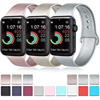 Pack 3 Compatible with Apple Watch Bands 38mm 40mm 42mm 44mm, Soft Silicone Band Compatible with iWatch Series 5, 4, 3, 2, 1