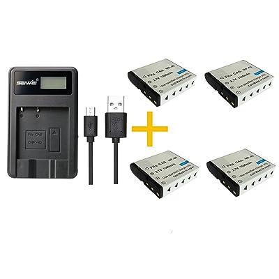 4 piezas 1500 mAh NP-40 NP40 Batería con cargador de batería para Casio Z200 Z1050 Z750 Z1080 Z700 (4 pcs battery with charger)