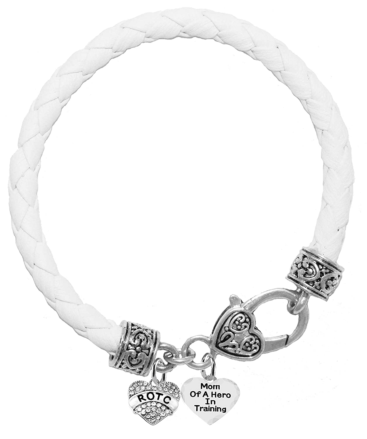 Lead and Cadmium Free Mom of A Hero in Training,Genuine White Leather Bracelet Cardinali Jewelry ROTC Hypoallergenic Safe-Nickel