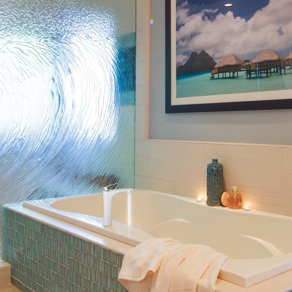 Grifo lavabo fregadero alto cascada Grifería Agua Fría y Caliente blanca Diseño: Amazon.es: Bricolaje y herramientas