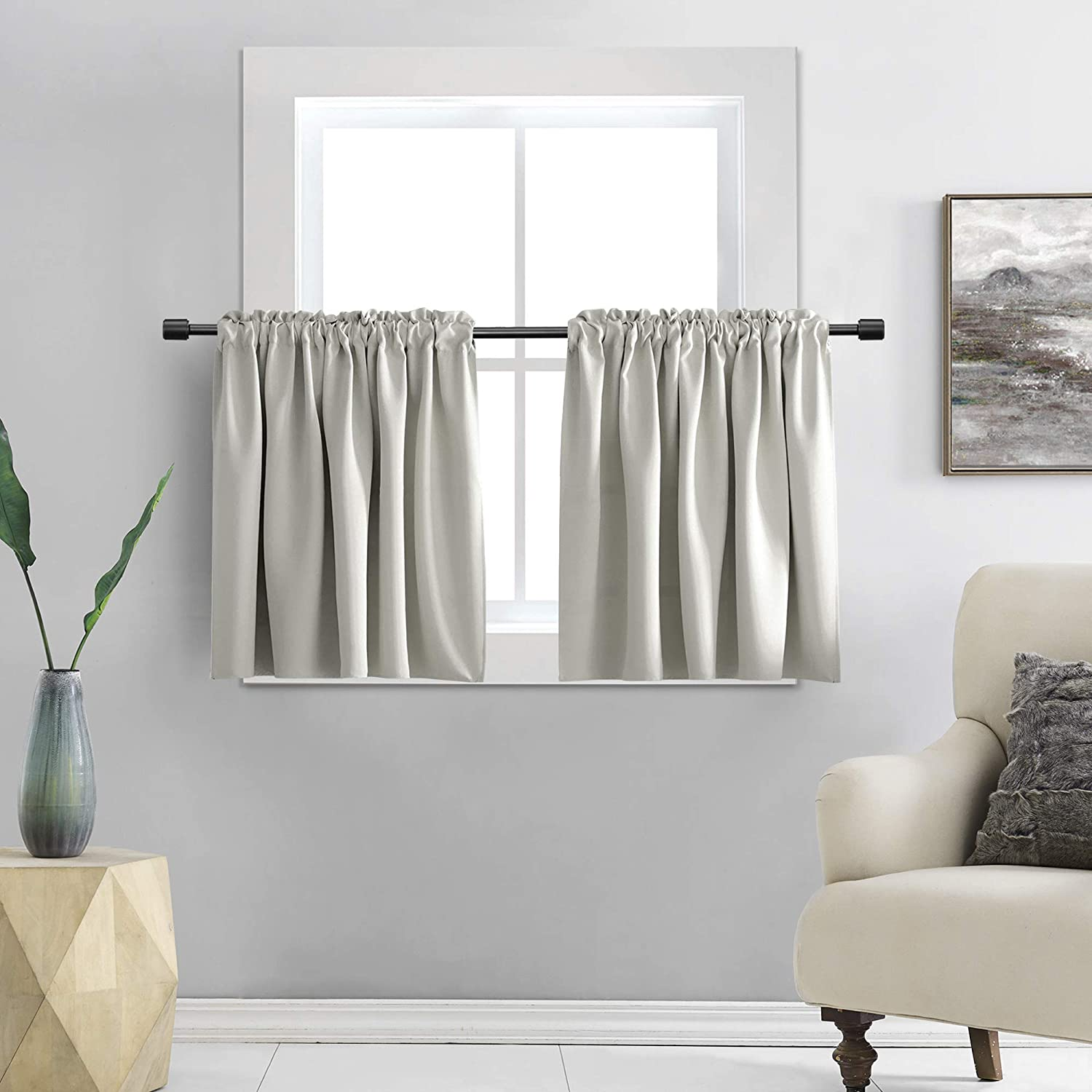 DONREN 112 Inch Length Curtain Tiers for Loft   Light Gray Blackout Short  Length Curtains for Bathroom112 Inches Wide,12 Panels