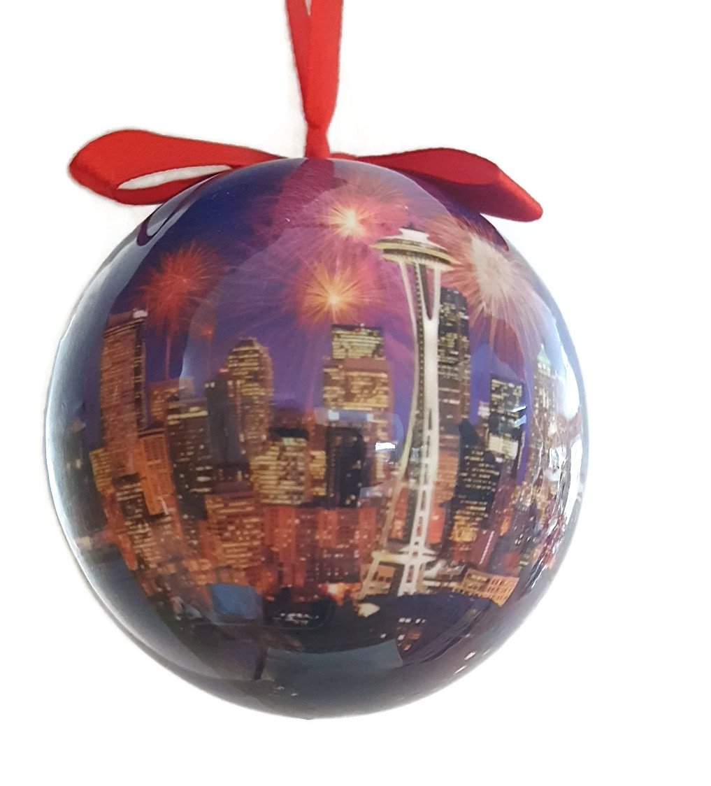Seattle Christmas Ornament Great Wheel Ball Collage