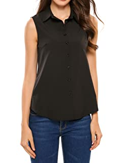 e27132177fc3d5 SoTeer Women s Sleeveless Button Down Shirt Tops Solid Casual Loose Blouse