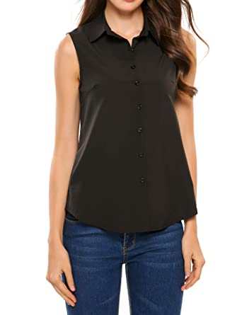 b8b5c1e86 SoTeer Women's Sleeveless Button Down Shirt Tops Solid Casual Loose Blouse  - Black/S-