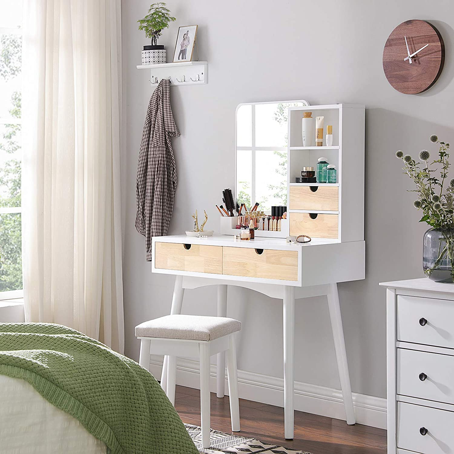 White and Natural Colour RDT32K 2 Open Compartments and Makeup Organiser Makeup Table Set with 4 Drawers Vanity Table with 1 Stool VASAGLE Bedroom Dressing Table with Mirror