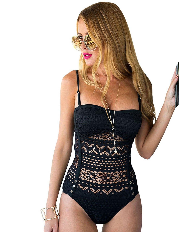 Lookbook Store Women's Black Crochet Lace Trim Halter/Strappy Adjustable Swimsuit US 4