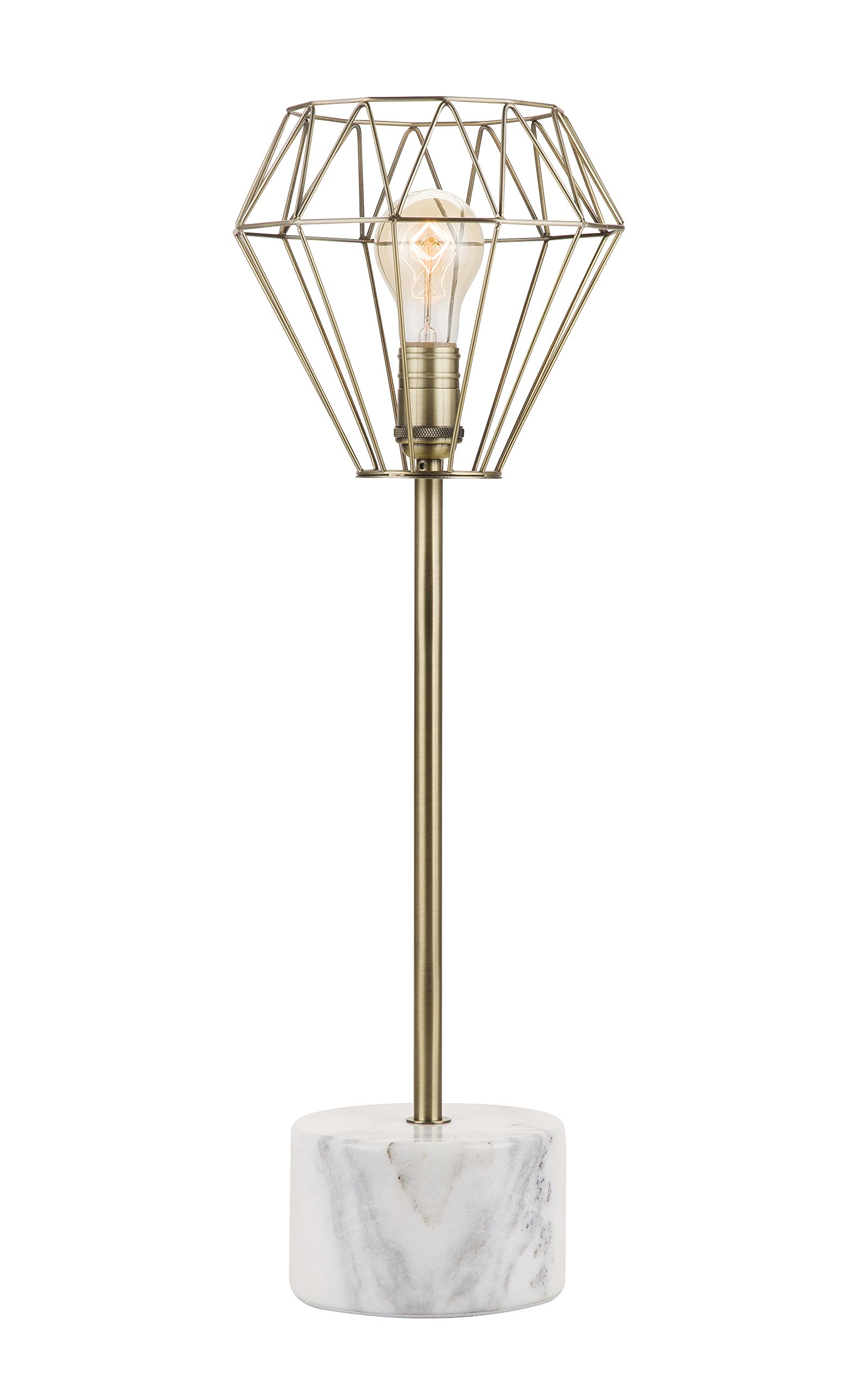 Catalina 20133-001 25-inch Marble Accent Lamp with Brass Wire Cage Shade, Bulb Included
