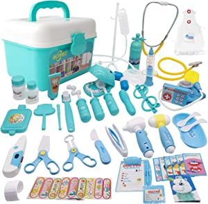 MCFANCE Toy Doctor Kits 48Pcs Pretend Play Doctor Kit Toys Stethoscope Medical Kit Imagination Play for Kids 3 Years