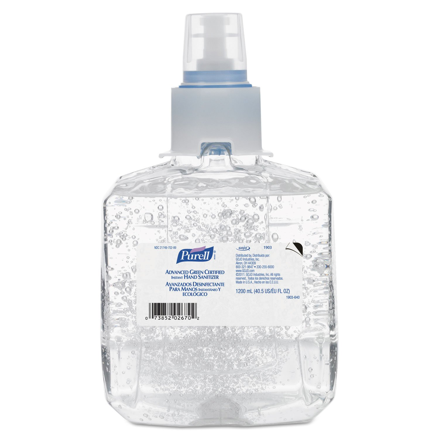 PURELL 190302CT Advanced Green Certified Hand Sanitizer Refill, 1200mL, Fragrance Free (Case of 2)