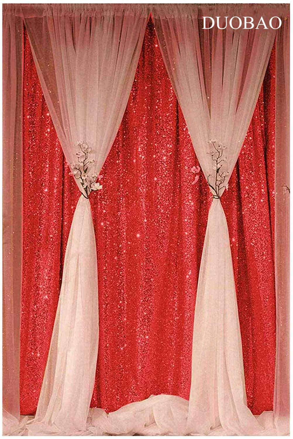 DUOBAO Sequin Backdrop Curtain 4FTx6FT Red Glitter Background Red Sequin Photo Backdrop Prom Party Decor~0613 by DUOBAO