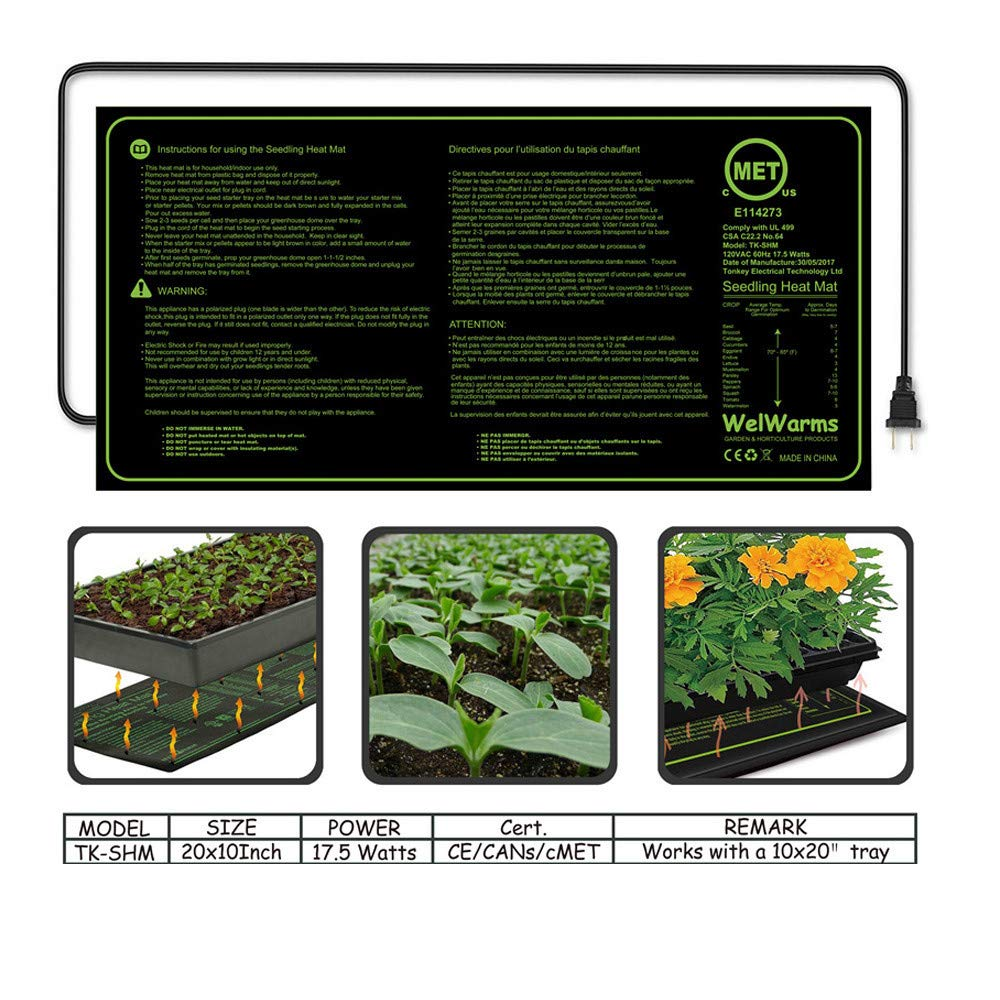 """XGao Seedling Heat Mat MET Standard Waterproof Seed Starting Plant Heating Clone Starter Pad 17W Hydroponic Heating Mat for Indoor Seedling and Germination 8.875"""" x 19.5"""""""