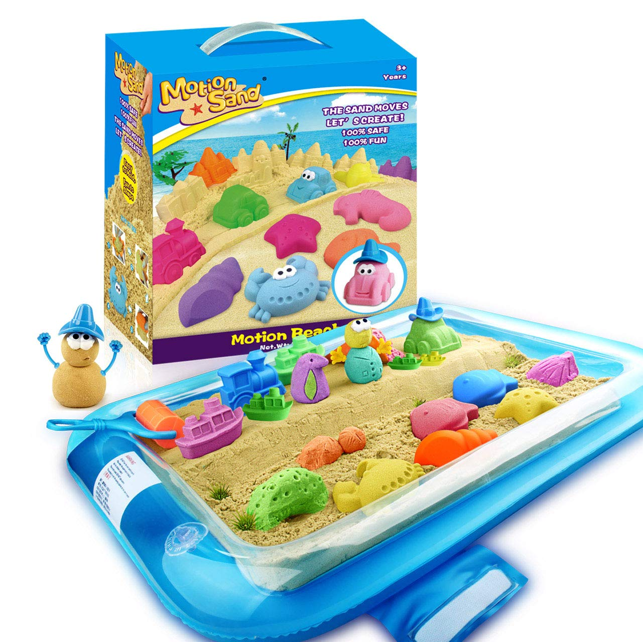 eff25e583f Amazon.com: Motion Sand, 2.65lbs Play Sand, Motion Beach Mold Kit, Play Sand  Set with 20 Pcs Sand Molds and 1 Sand Tray, Non-Toxic Sand Molding Set for  ...