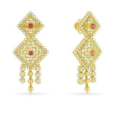 22efdfa56 Malabar Gold & Diamonds Women's 22K (916) Yellow Gold Uncut Diamond and  Ruby Era