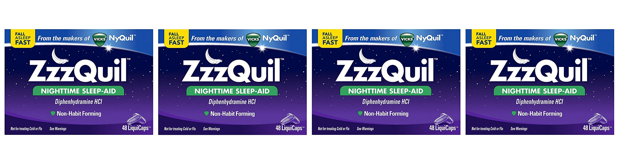 ZzzQuil Nighttime pVxYWO Sleep Aid, 48 LiquiCaps (Pack of 4) by ZzzQuil (Image #1)