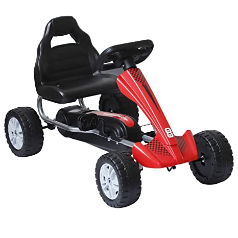 HOMCOM Go-Kart - Coche de Pedales para niños con 4 Ruedas de Metal y ...